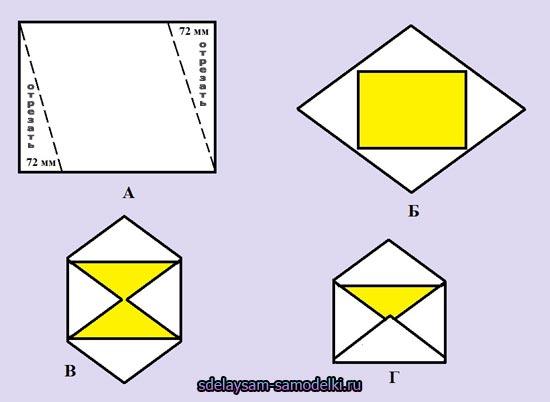 Схема конверта сделанного своими руками из косого листа