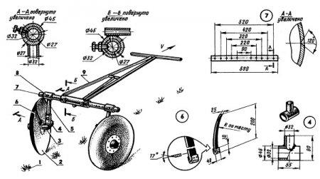Рис. 5. Схема сборки ручного дискового окучника